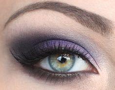 Purple Smokey Eye Makeup: Mary Kay Lavender Fog on inside of eye, MK Sweet Plum on lid below crease, and MK Coal on outside of lid and below lower lash line. MK Eye Colors $6.50 each