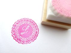 Initial doily stamp Rubber stamp DIY by JapaneseRubberStamps