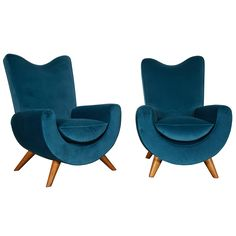 """Jean Royère, Pair of Velvet and Oak Armchairs, """"Ambassador"""" 