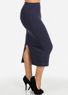 High Waisted Bodycon Midi Skirt (Navy)