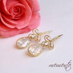 Samantha Gold Pleated Cubic Zirconia Earrings by Mauve Binchely via Etsy.