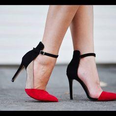 Zara color block red black nude ankle strap heels Like new Zara color block red…