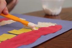 Clean Teeth- yellow teeth made white with a toothbrush dipped in white paint. Cute idea for dental health week :)