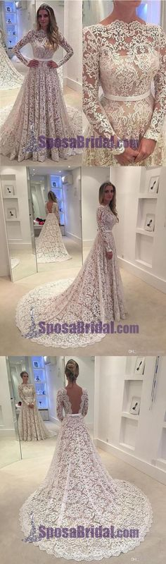 Long Sleeves Lace A-line Floor-Length with small tail Formal Simple Prom Dress ,PD0239 #sposabridal #weddingdresses #promdresses #lace