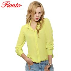 Button Women Blouses Solid Summer Long-Sleeve Turn-Down Collar Shirts Female Chiffon Clothing Ladies Single-breasted Tops A231 //Price: $4.00 //       #7DollarWearables    #amazing #girls #awesome #tagblender #party #repost #jj_forum #all_shots #night #followback #instago #school #harrystyles #sweet