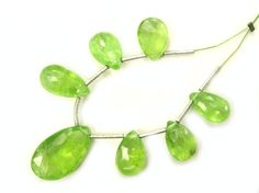 Peridot Faceted Pear / 6.5x10.5 to 10x16 mm / 7 by beadsofgemstone