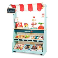 Le Toy Van Shop and Cafe. Wooden market stall and play shop with fast delivery. Buy Le Toy Van Honeybake Play Shop & Cafe Marketstall online now! Hanging Chalkboard, Chalkboard Signs, Market Stands, Play Shop, Pad Design, Vans Shop, Imaginative Play, Creative Kids, Cool Toys