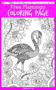 Free detailed flamingo coloring page for adults and kids. Relax and create a beautifully coloured animal picture with this free printable.