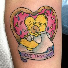 "Bwah ha ha ha ha!!! Love this!!! @alexstrangler ""Love Thyself"" #thesimpsonstattoo #thesimpsons"