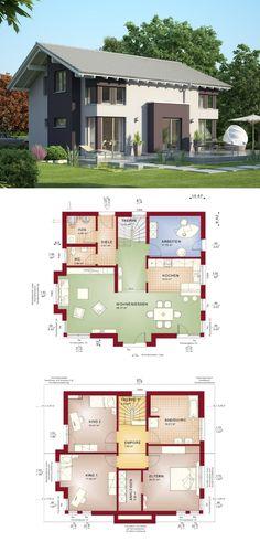 modernes stadthaus evolution 165 v4 bien zenker fertighaus mit satteldach bauen grundriss einfamilienhaus modern offene - Fertighausplne