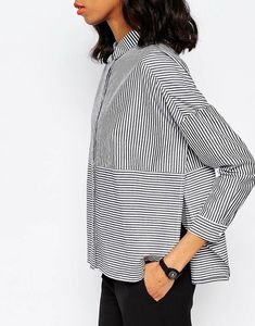 striped button-front cotton tu |