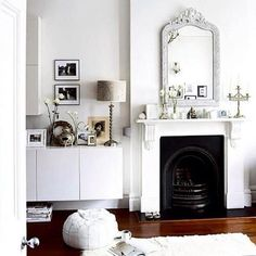 chic scandi white living room with black fireplace Living Room White, White Rooms, My Living Room, Home And Living, Living Spaces, White Walls, Interior Exterior, Interior Design, Interior Decorating