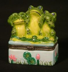See No Evil Frog Hear No Say No Porcelain Hinged Trinket Box phb by Art Gifts. $7.98. Keepsake Box. Speak No Evil,See No Evil, Hear No Evil. Porcelain. approx. 3 inches high. See No Evil Frog Hear No Say No Porcelain Hinged Trinket Box phb