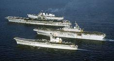 From bottom to top: Spanish light V/STOL carrier Príncipe de Asturias, amphibious assault ship USS Wasp, fleet carrier USS Forrestal, and light V/STOL ..