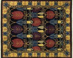 """Voysey Tulips Black"", a rug designed by James Tufenkian, 9 x 12'"