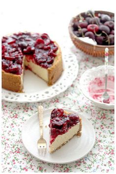 New York Styled Cheesecake with Cherry Topping