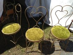 Green velour-cushioned chairs found at Brimfield Antique Show in Brimfield, MA