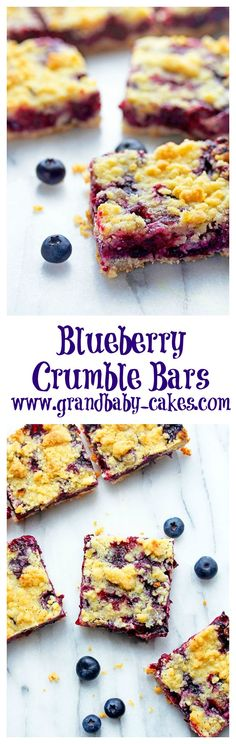 These Easy Blueberry Crumble Bars are filled with sweetened plump, juicy vanilla and citrus hinted blueberries then layered on top of a shortbread crust and topped with a buttery crumble! Easy Desserts, Delicious Desserts, Yummy Food, Trifle, Blueberry Crumble Bars, Blueberry Recipes, Cookies Et Biscuits, Bar Cookies, Cookie Bars