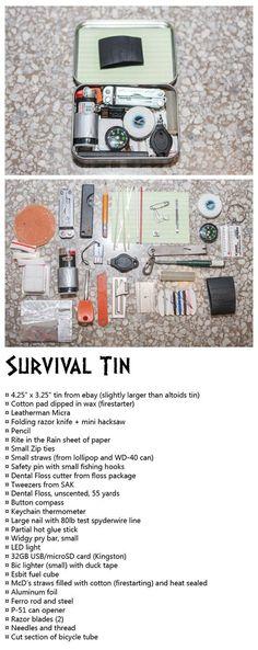 James bond style Survival tin, firestarters, cordage, cutting tools, fishing, EDC, bug out bag, BOB