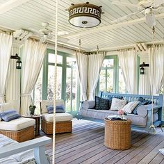 Outdoor Living Room - 47 Beachy Porches and Patios - Coastal Living maybe i could do curtains instead of blinds.... #coastallivingroomscurtains