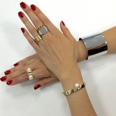 Pin by Brynda on B Style in 2019 Hands With Rings, Gold Rings, Jewelry Accessories, Fashion Jewelry, Bangles, Clothes For Women, Silver, Shopping, Style