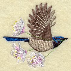 Flying Superb Fairywren with Blossoms design (F2756) from www.Emblibrary.com