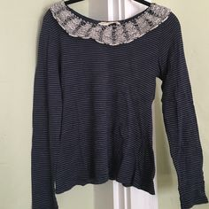 Anthropologie striped tee Navy and white striped t shirt by Anthropologie with collar. Great condition! Too small for me, sadly Anthropologie Tops Tees - Long Sleeve