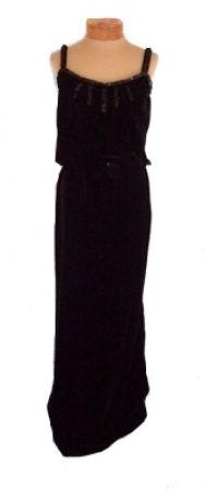 Vintage Courreges Black Velvet Sequined 1970s Evening Dress