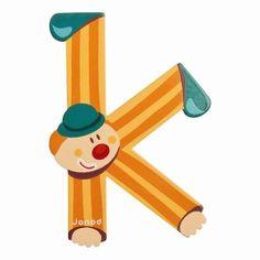 Lettres alphabet Clown en bois<BR>Lettre K<BR>JANOD