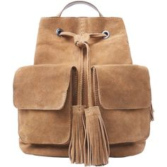 Pocket Leather Backpack (53 BAM) ❤ liked on Polyvore featuring bags, backpacks, day pack backpack, beige backpack, real leather backpack, beige leather bag and leather rucksack