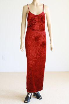 90's Velvet/Velour Maxi Dress Grunge S/M Body Con by wemovevintage, $58.00