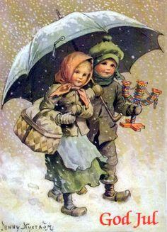 Children walking with an umbrella.                                                                                                                                                                                 Más
