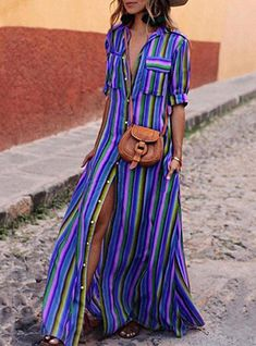 Women Maxi Dress Striped Retro Boho Style 2019 Autumn Long Shirt Dress Party Female Elegant Dress Plus Size Xxxl Size S Color 100022 black Striped Shirt Dress, Long Shirt Dress, Cheap Summer Dresses, Summer Dresses For Women, Dress Summer, Cheap Dress, Spring Summer, Bohemian Style Dresses, Boho Style