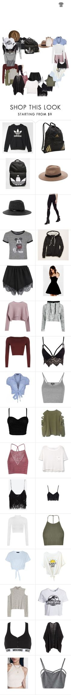 """""""."""" by alyssaramirez-1 ❤ liked on Polyvore featuring adidas, Sole Society, BCBGMAXAZRIA, Topshop, Aerie, Carmin, Chicnova Fashion, WearAll, Club L and QED London"""