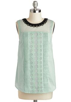 love the lacey details and color combo. Cloud Bank Top in Mint, #ModCloth