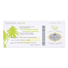 Boarding Pass to Cayman Islands Wedding Invitation