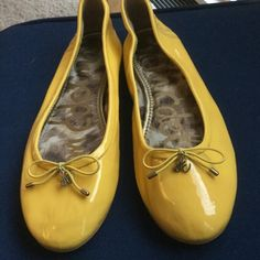 Sam Edelman yellow ballerina slippers, 8 Cute spring'y shoes, Delicia, real patent leather with man made exterior soles. Inside cushy fabric. Leather soft, soles good shape, worn 2-3 X only. Bright lemon yellow, 8. Few marks, shown in pix Sam Edelman Shoes Slippers
