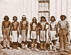 When Apaches abducted Felix Ward in 1860, they wore loincloths and moccasins. Seventeen years later, at the Camp Verde reservation in Arizona, white man's clothing was just coming into vogue. Ward stands among them, second from right; he had joined the U.S. Army as a scout in 1872 and would even attempt to track down the renegade Apache Kid.  – Courtesy Sharlot Hall Museum –