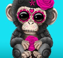 Pink Day of the Dead Sugar Skull Baby Chimp by Jeff Bartels