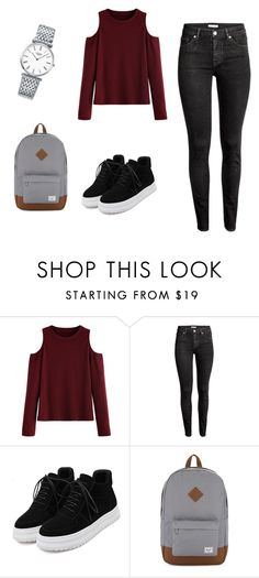 """""""Casual school outfit"""" by ralitsaboo ❤ liked on Polyvore featuring WithChic, H&M, Herschel Supply Co. and Longines"""