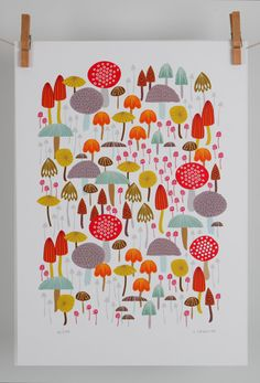 A4 giclee toadstool woodland print by maggiemagoodesigns on Etsy