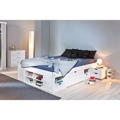 MIKA Sängram 140 Vit, a solution to my storage problem Ottoman Bed, Wood Headboard, Bedside Cabinet, Dream Bedroom, Bunk Beds, Storage Spaces, Mattress, Toddler Bed, Bedroom Decor