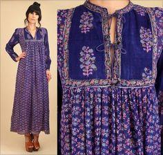 ViNtAgE 70's RARE INDIAN Cotton Bohemian Maxi Dress India Gauze 1970s Style Fashion by hellhoundvintage