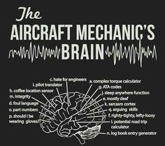 "The brain of an aircraft mechanic (curious what function the missing letter ""b""…"