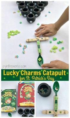 Make Lucky Charms Catapults, the perfect St. Patrick's Day STEM Activity! Add in an extra level of fun with addition of point values and pot of gold target practice! #stpatricksday #STEM #stpatricksdaystem #catapult #saintpatricksdaycatapult #luckycharms
