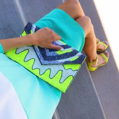 Mint Ombre Dress with Neon Accents