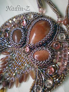 Ancient Slavic Women's Charm crescent. Czech and Japanese seed beads, Czech beads, cabochons agate and aventurine