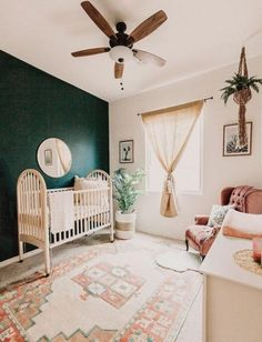 Gorgeous Gender Neutral Baby Nursery Room Ideas It's time to decorate the nursery! How exciting! Here you'll get inspired by our nursery bedroom design ideas Baby Nursery Neutral, Boho Nursery, Accent Wall Nursery, Natural Nursery, Pink Green Nursery, Baby Room Green, Baby Bedroom Ideas Neutral, Nursery Paint Colors, Nursery Office