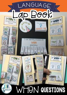 When Questions Lap Book - A Language Lap Book for WH Questions - SLP Collaborative Board - all good things speech & language Speech Therapy Activities, Speech Language Therapy, Language Activities, Speech And Language, Interactive Learning, Interactive Notebooks, Wh Questions, This Or That Questions, Receptive Language