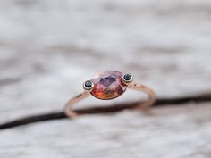 Bespoke and Spoken For - Custom made Tourmaline and Spinel Ring in rose gold.   I didn't realise that the bottom of the tourmaline was yellow, until after I finished the ring and got to see the stone from a different angle with my camera. It's such an amazing gemstone with so many beautiful shades and interesting inclusions.
